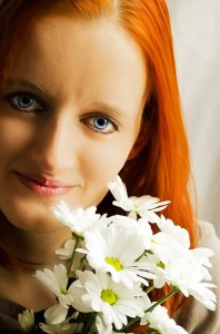 What-is-important girl with flowers